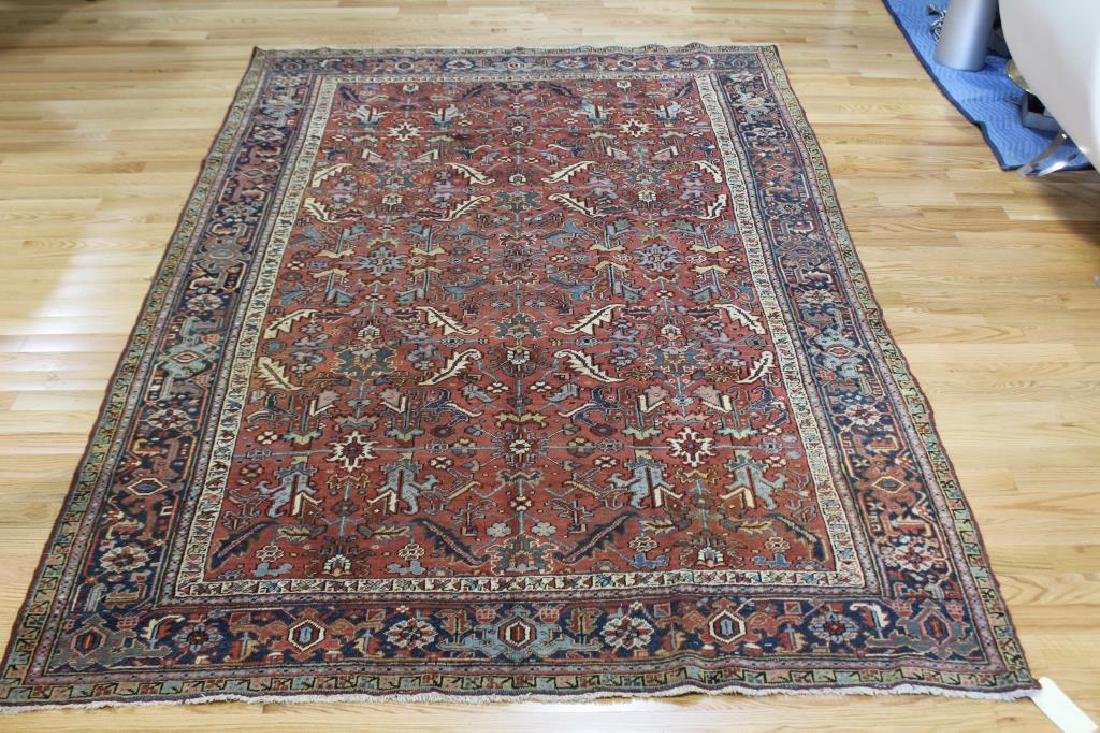 Antique and Finely Handwoven Heriz Carpet.