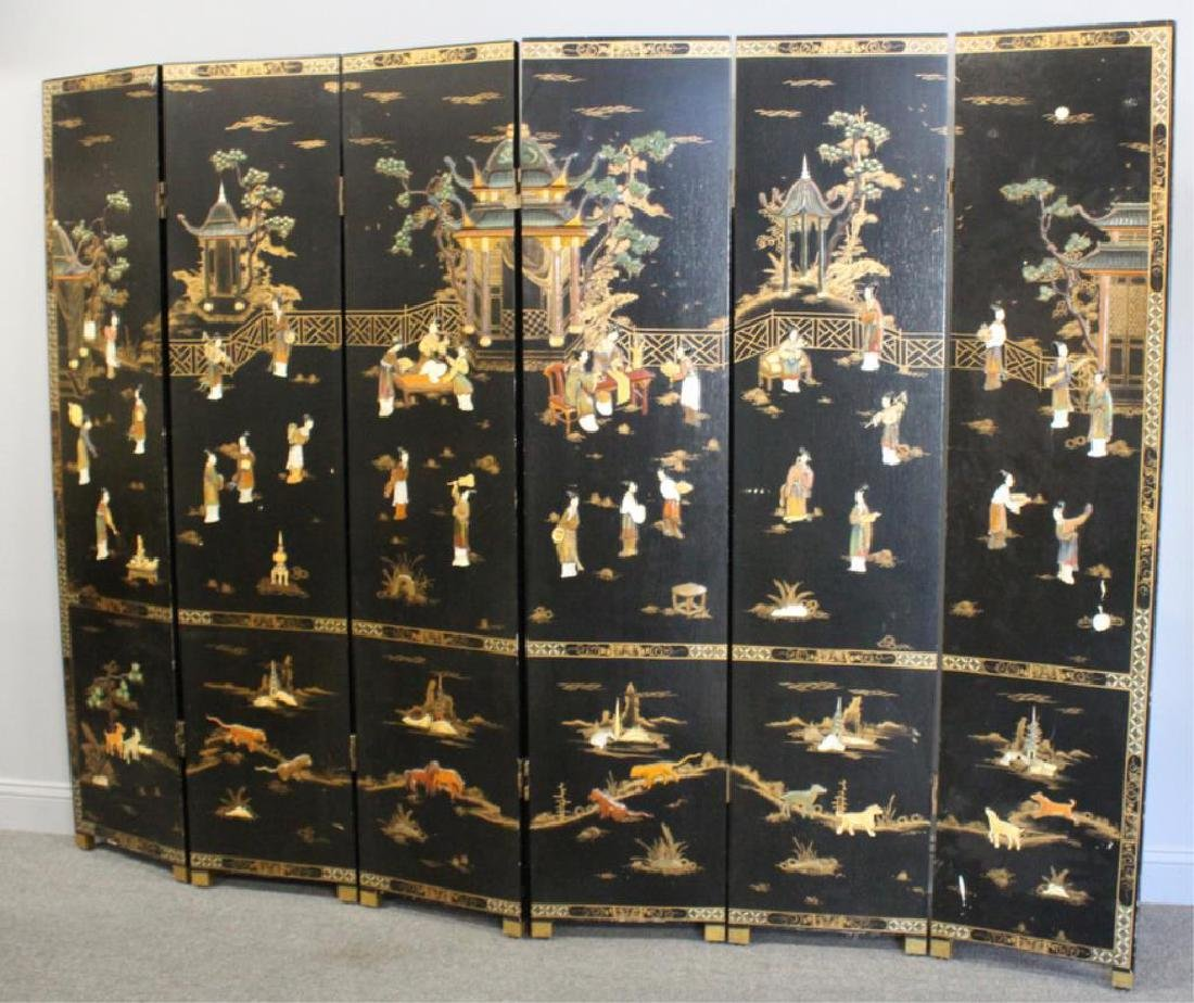 Antique Lacquered and Paint Decorated Screen with