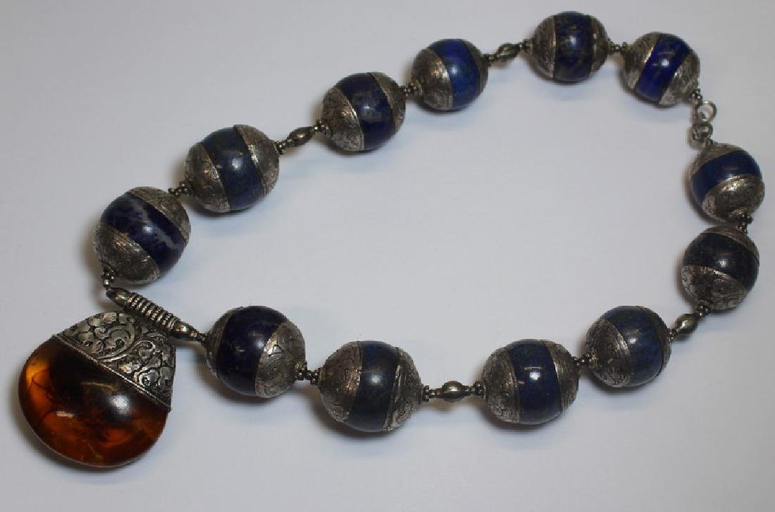 JEWELRY. Tribal Sterling, Lapis Lazulis, and Amber