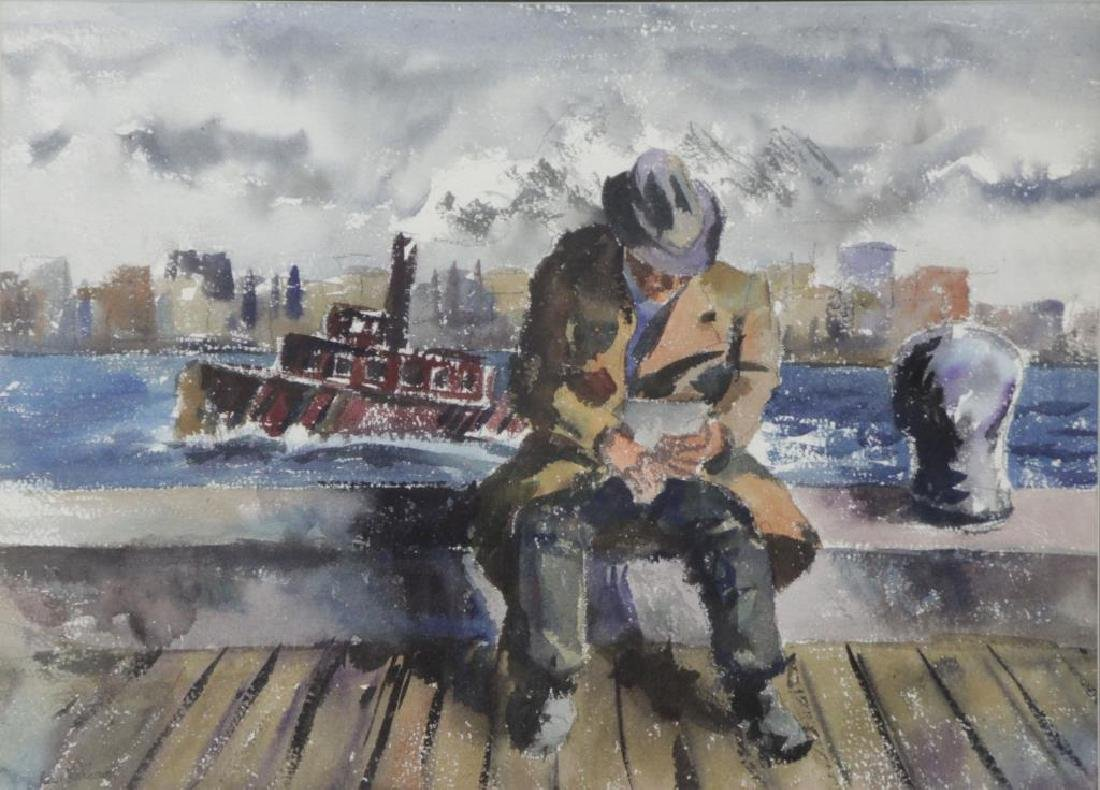 WOLCHONOK, Louis. Watercolor. Man with Tugboat.