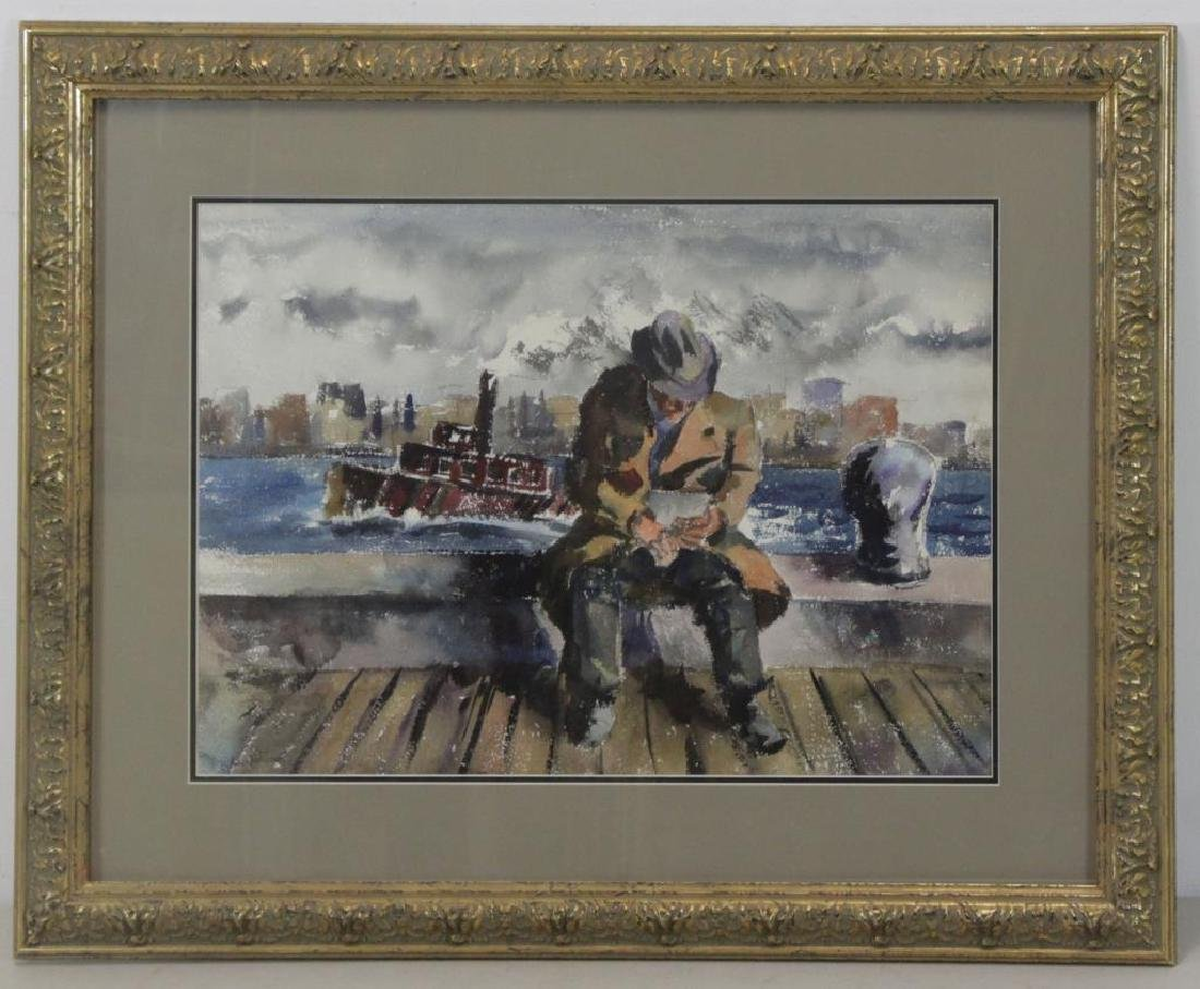 WOLCHONOK, Louis. Watercolor. Man with Tugboat. - 2