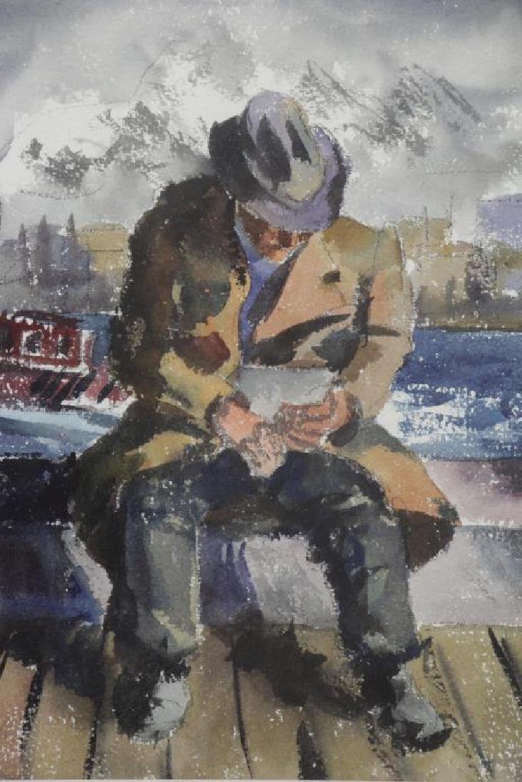 WOLCHONOK, Louis. Watercolor. Man with Tugboat. - 3