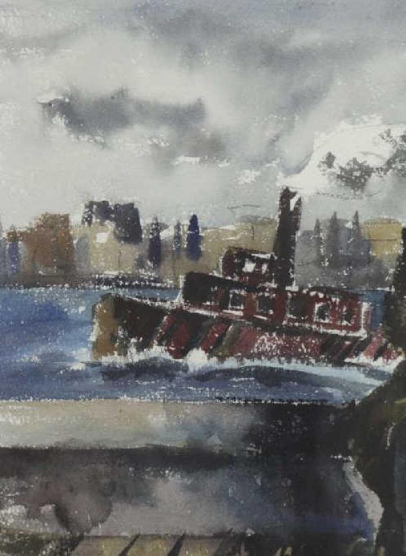 WOLCHONOK, Louis. Watercolor. Man with Tugboat. - 4