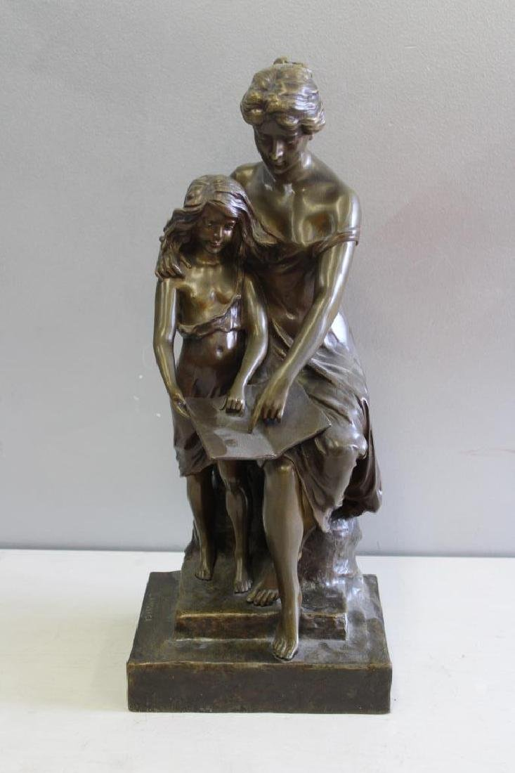 LAMANOCA, Signed Bronze Sculpture ,Woman and Young