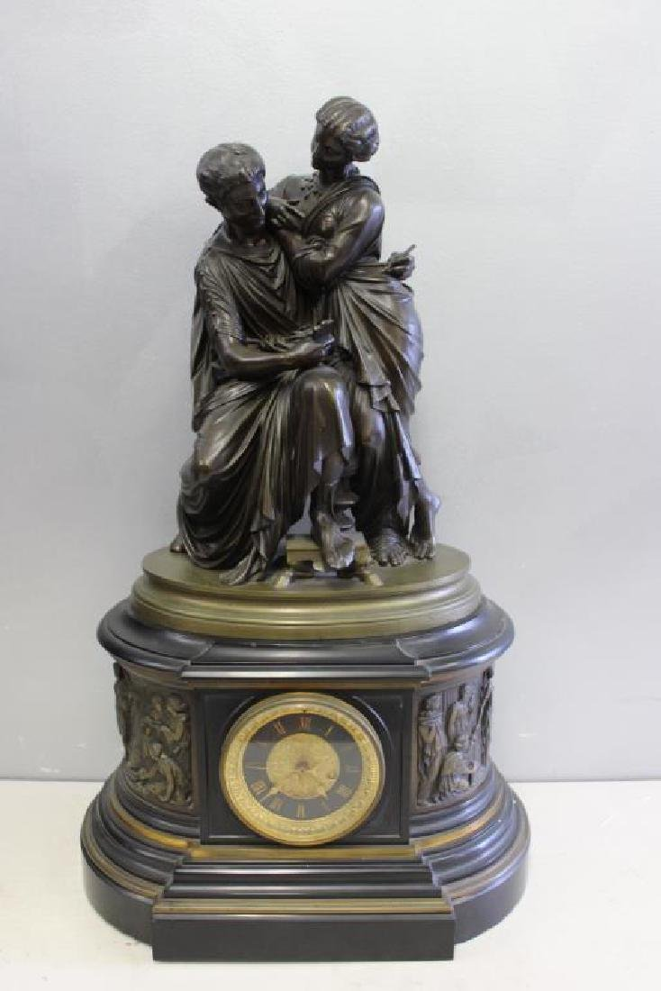 Impressive Bronze and Marble Figural Clock