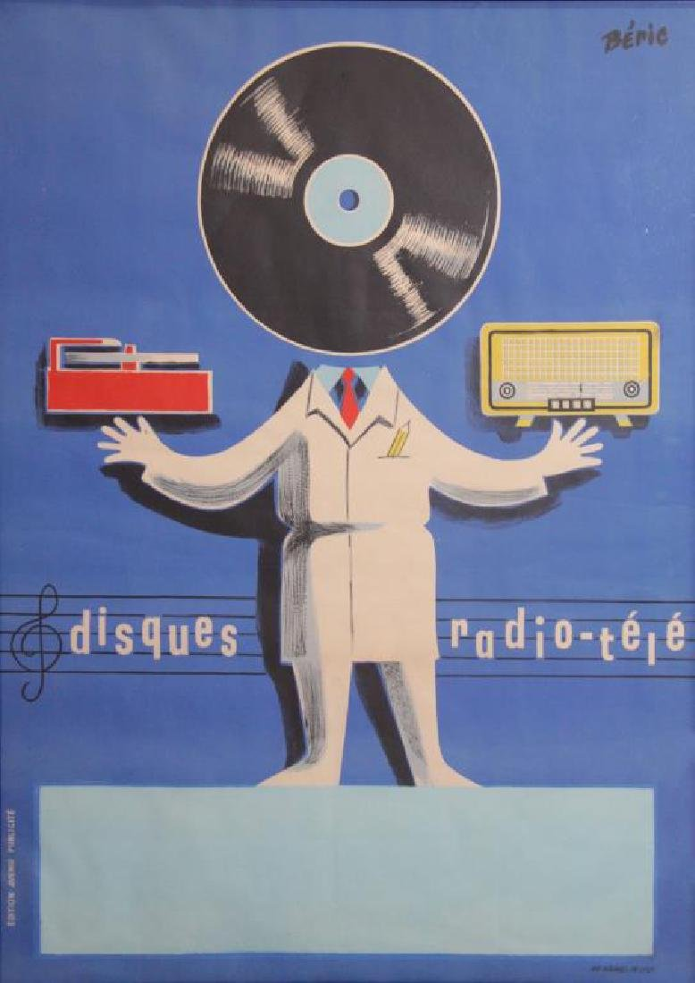 """Vintage """"Disques Radio-Tele"""" Lithograph Poster."""