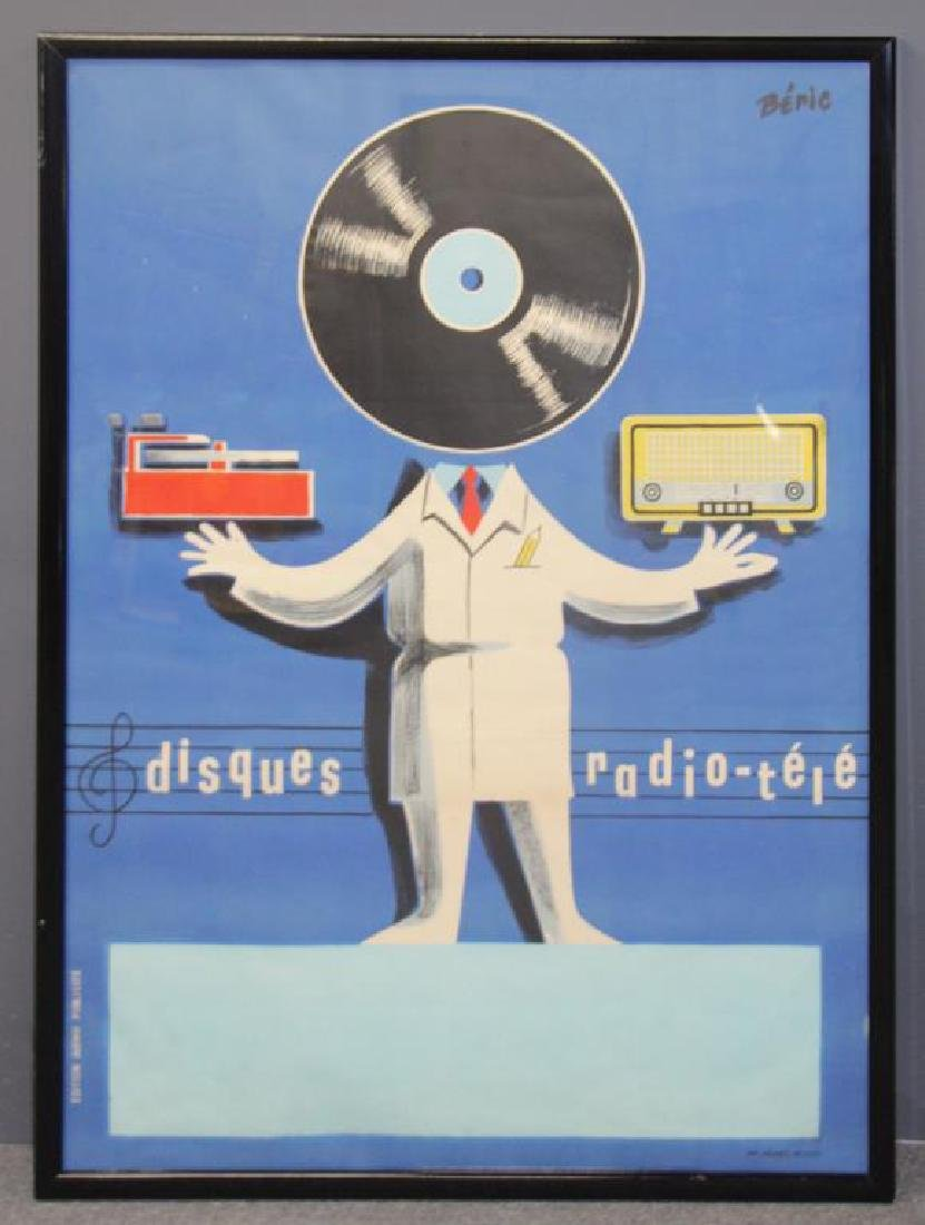 "Vintage ""Disques Radio-Tele"" Lithograph Poster. - 2"