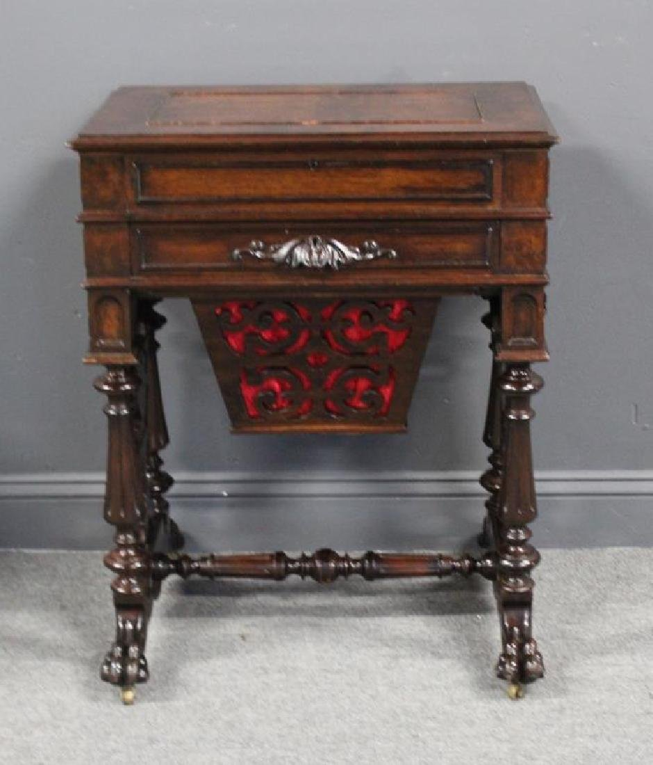 Signed Victorian Mahogany Sewing Stand.