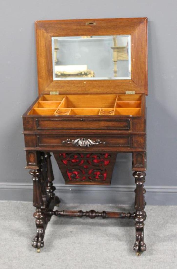 Signed Victorian Mahogany Sewing Stand. - 3