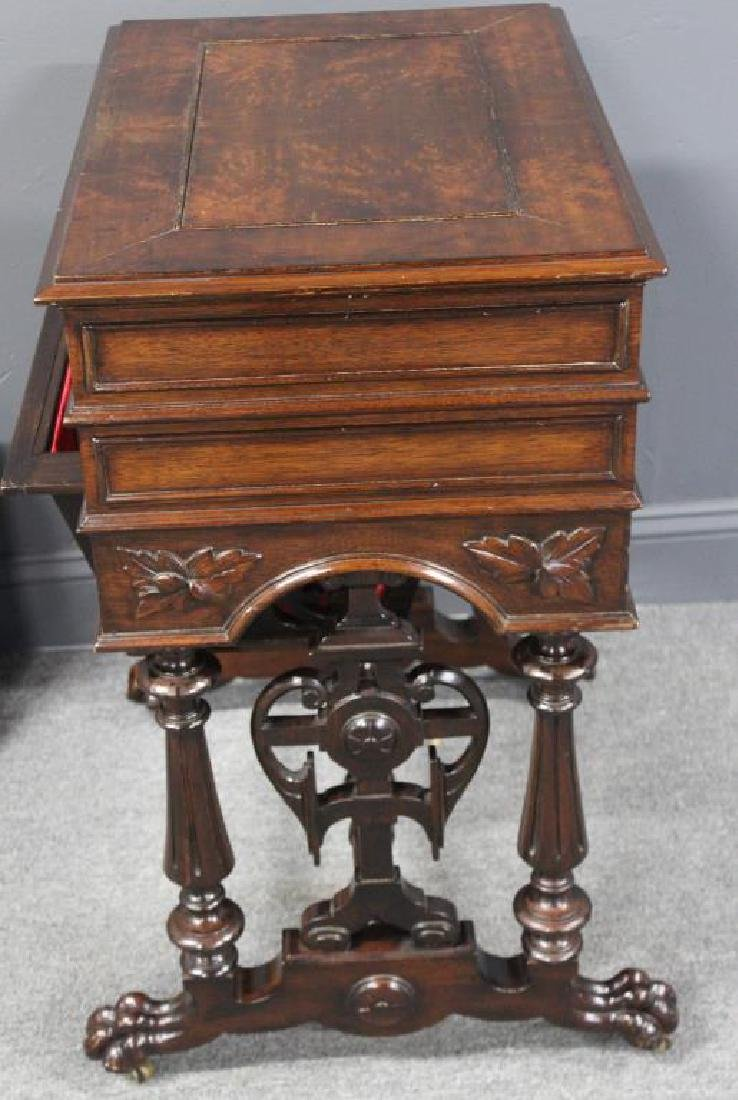 Signed Victorian Mahogany Sewing Stand. - 7