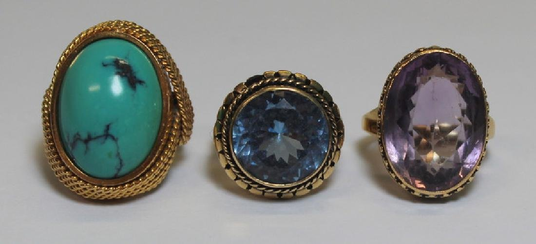 JEWELRY. Grouping of Gold and Colored Gem Rings.