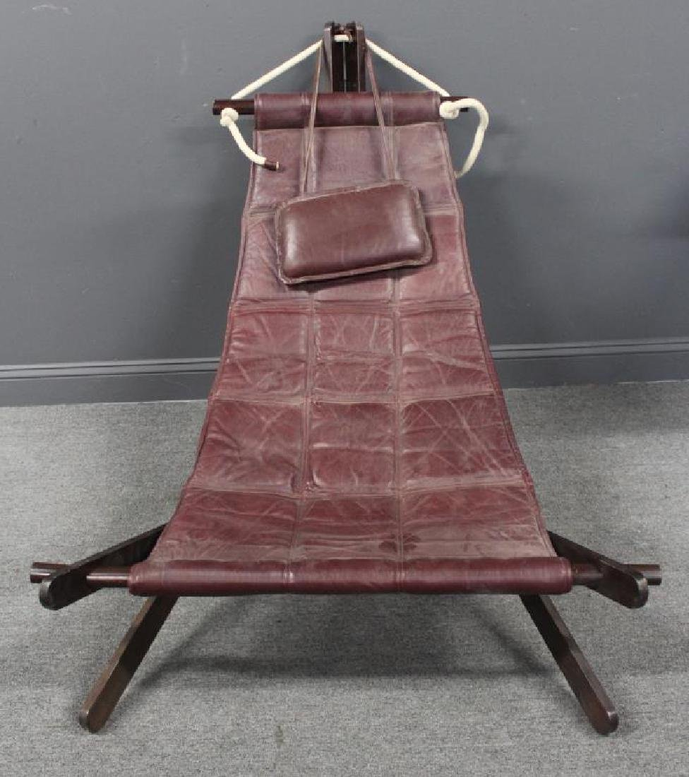 Vintage Leather Upholstered Hammock Chair.