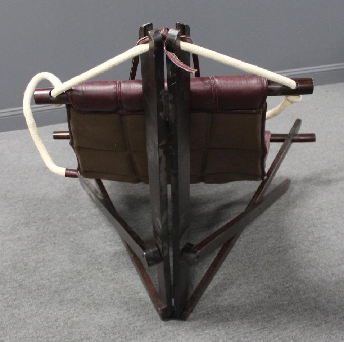 Vintage Leather Upholstered Hammock Chair. - 3