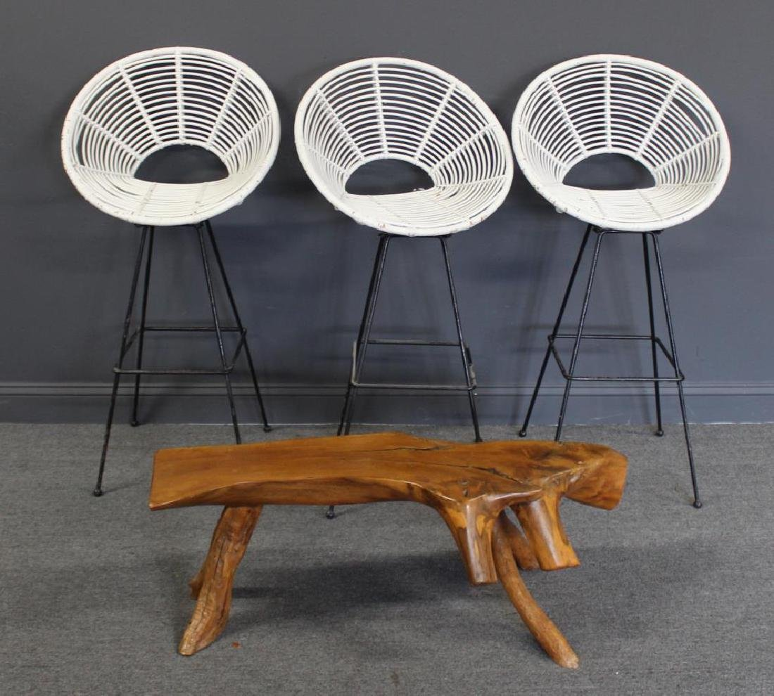 MIDCENTURY. 3 Swivel Stools Together with a