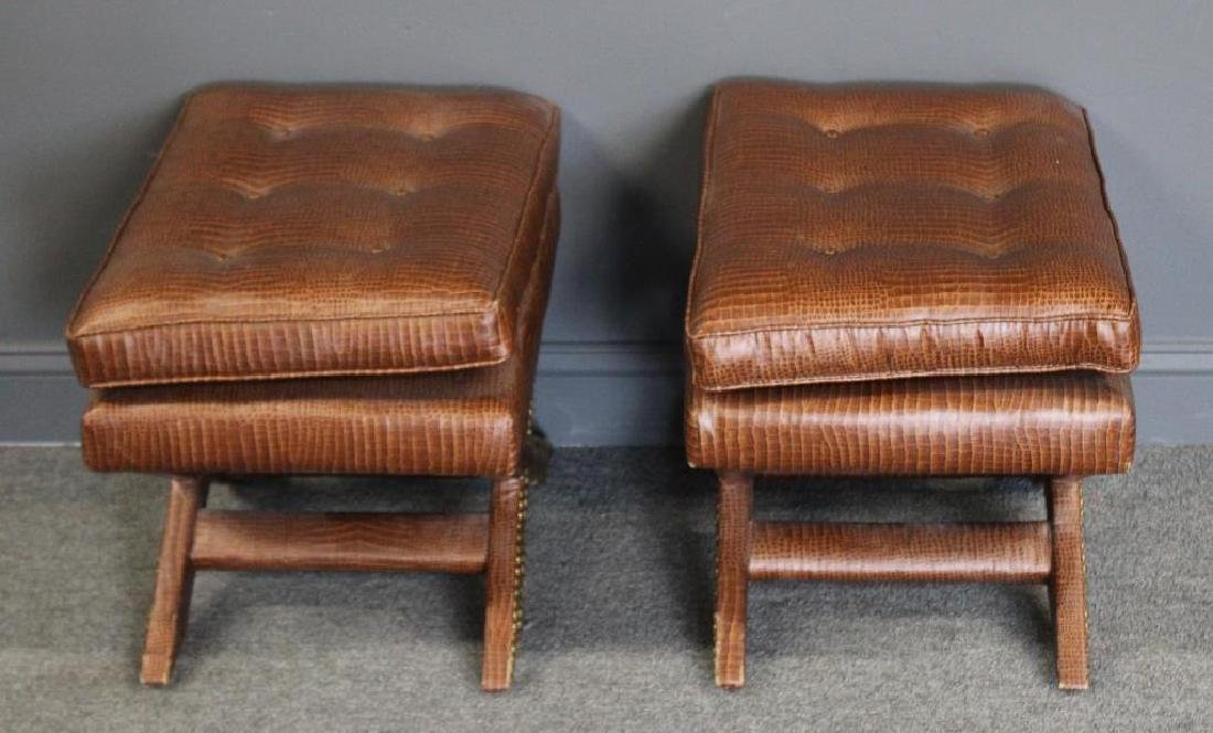 A Pair of Faux Skin X Form Benches.