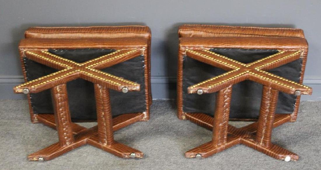 A Pair of Faux Skin X Form Benches. - 3