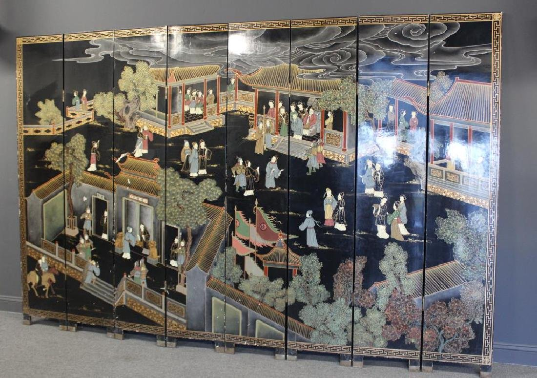 A Pair of Lacquered and Decorated 8 Panel Screens.