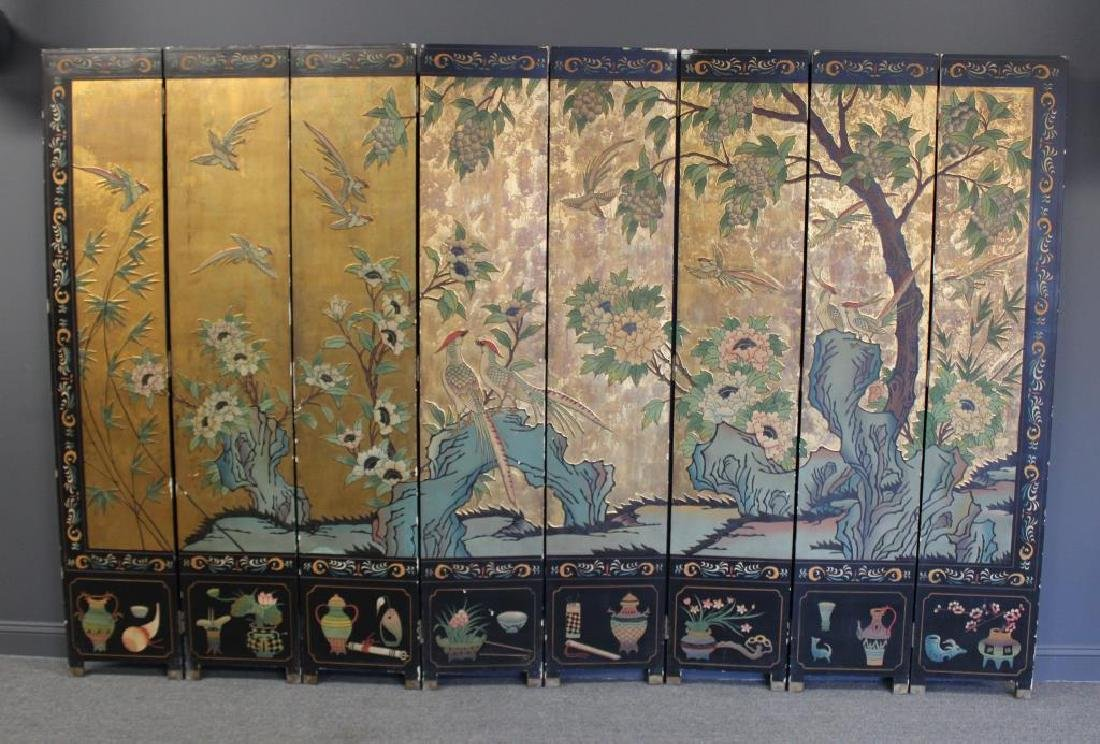 A Pair of Lacquered and Decorated 8 Panel Screens. - 2