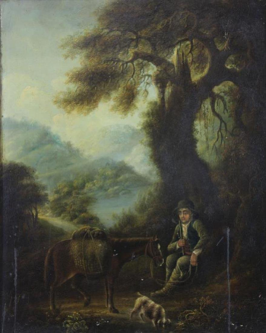 18th C. Oil on Panel. Traveler with Horse and Dog