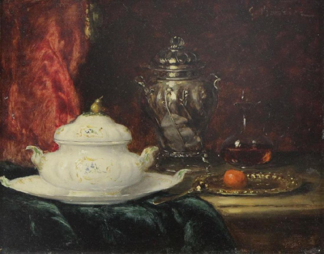 BARRIER, Gustave. Oil on Panel. Still Life.