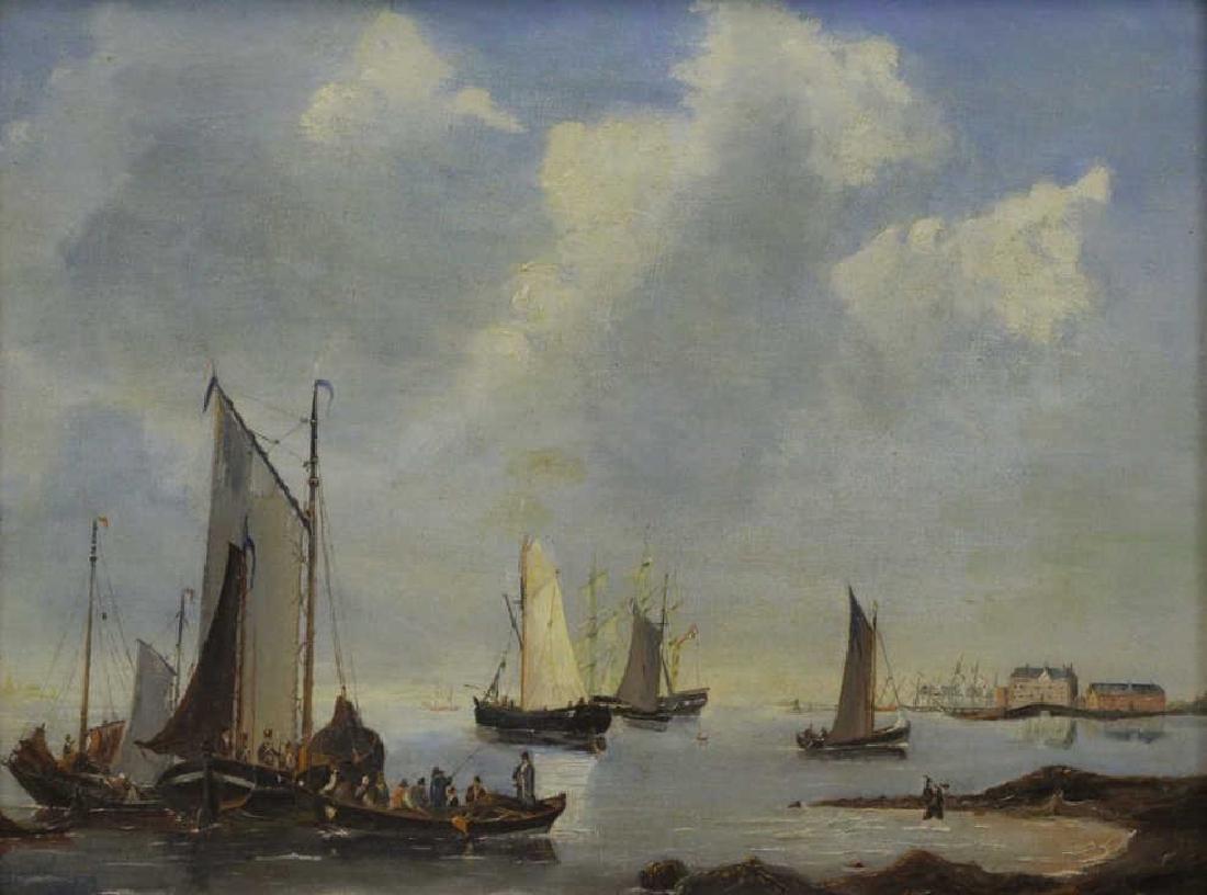 SCHOTEL, Petrus. Oil on Canvas. Fishing Boats Near