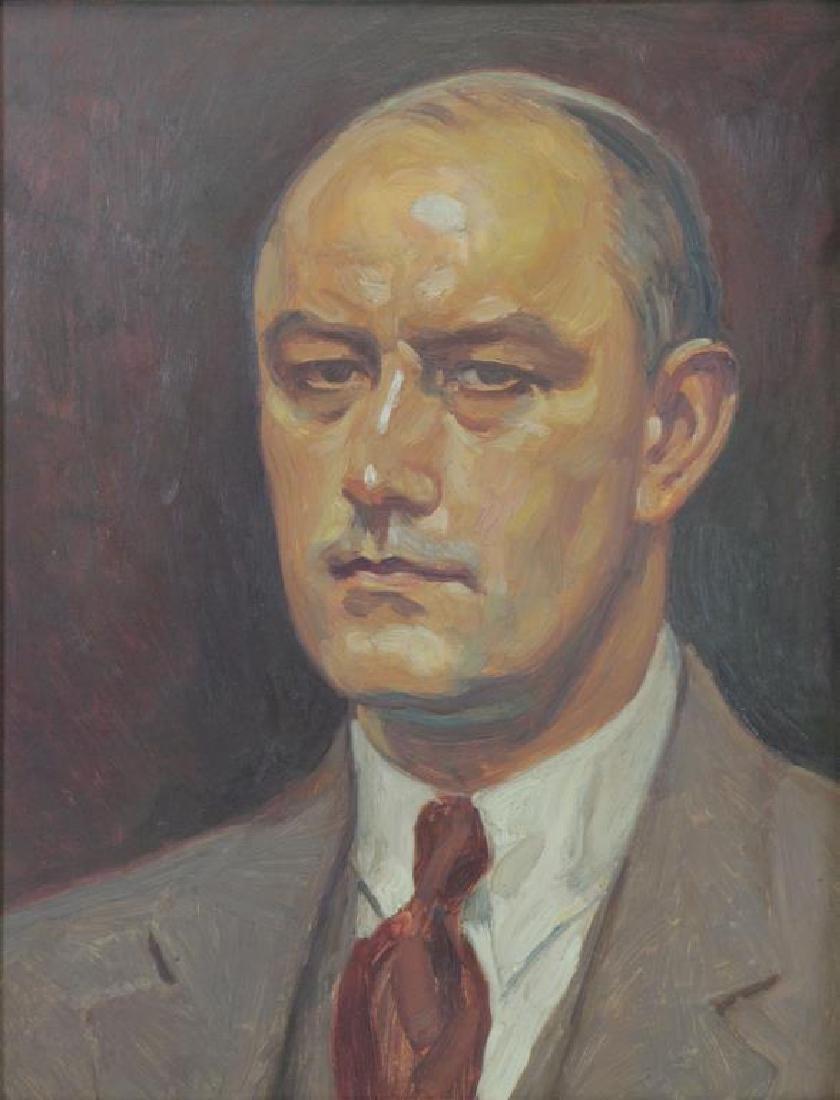 SWAN, Paul. Oil on Board. Portrait of Lt. Col.