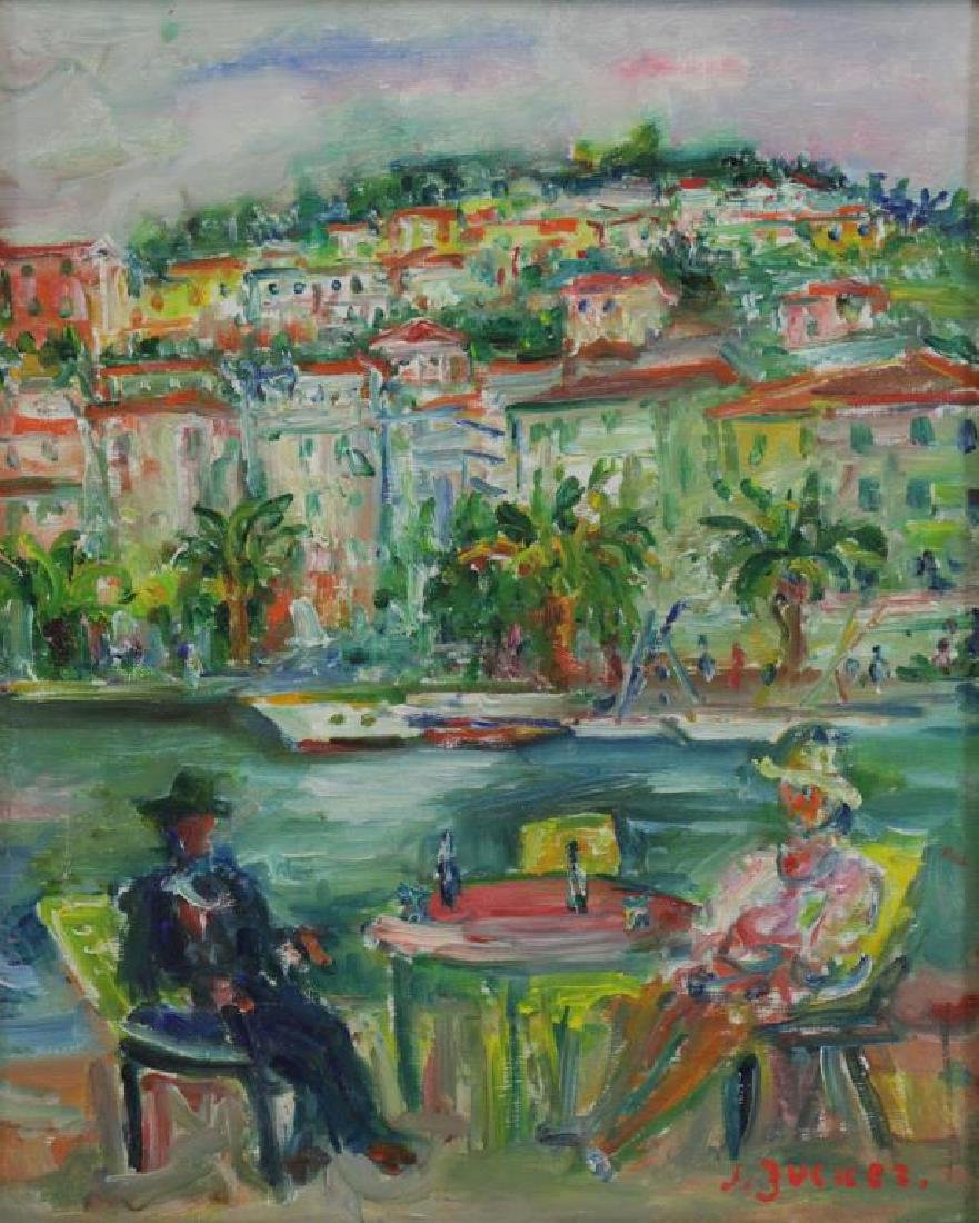 ZUCKER, Jacques. Oil on Canvas. River Cafe.