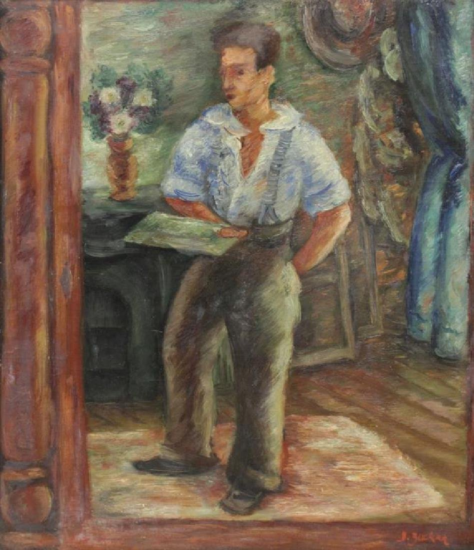 ZUCKER, Jacques. Oil on Canvas. Artist in Interior