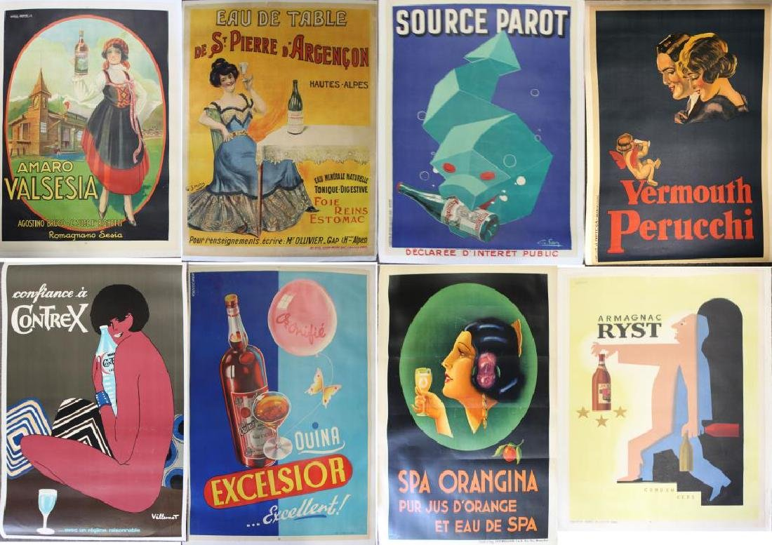 Lot of 8 Original Lithograph Beverage Advertising