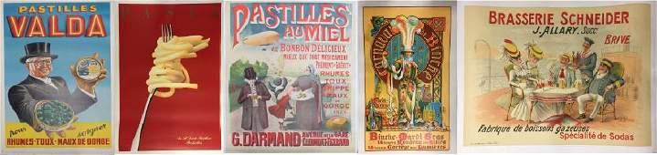 Lot of 5 Original Lithograph Food Advertising