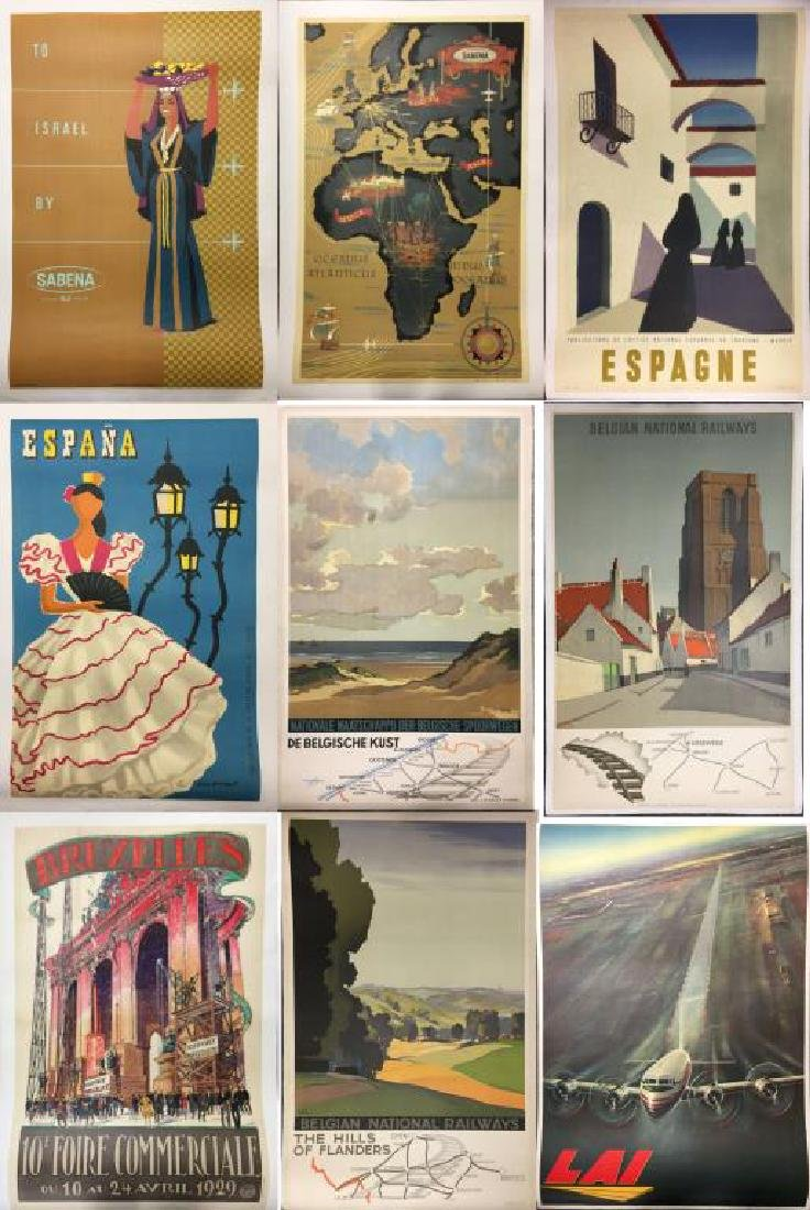 Lot of 9 Original Lithograph Travel Posters.