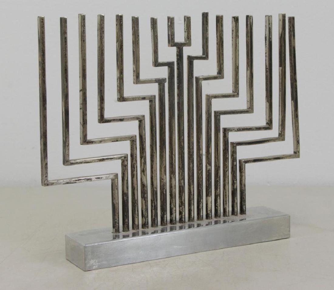 AGAM. Silver Plate Menorah Form Sculpture.