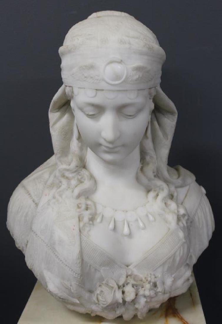 VICCHI, Ferdinando. Signed Marble Bust of a Gypsy.