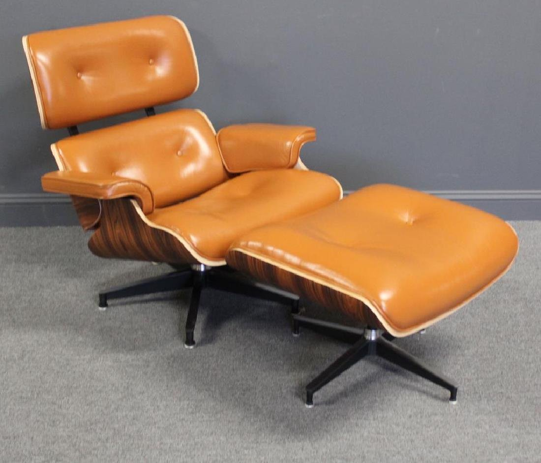 Vintage Eames Style Leather and Pallisander Lounge