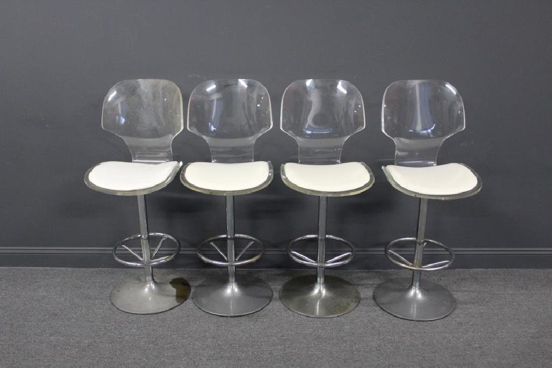 MIDCENTURY. 4 Lucite and Metal Swivel Stools