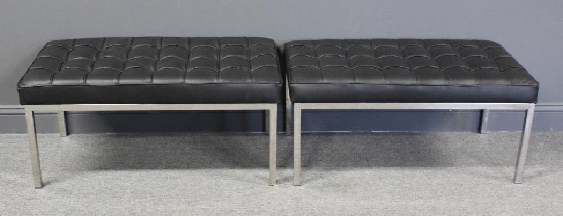 Pair of Midcentury Style Leather Upholstered