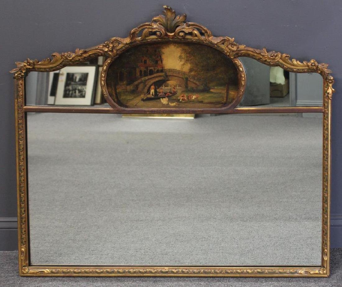 Antique Carved and Giltwood Trumeau Style Mirror.