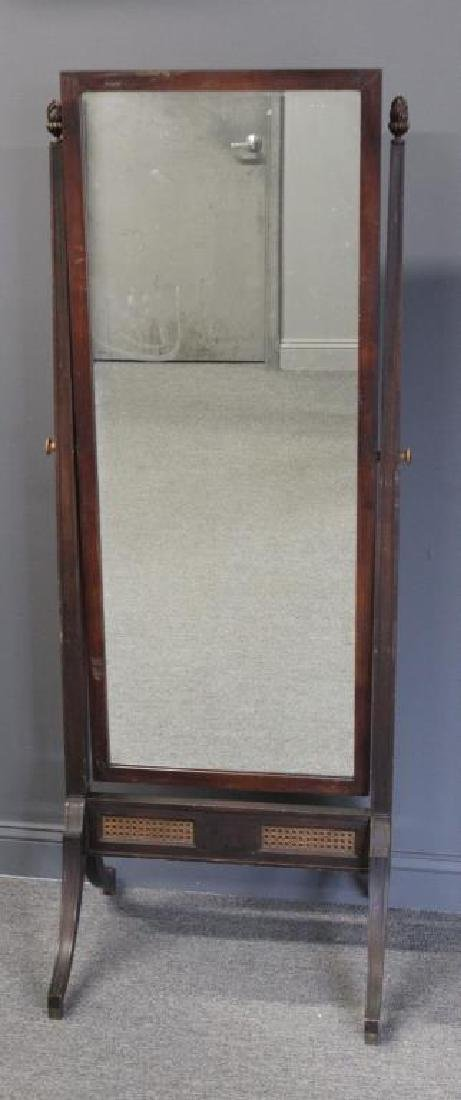 Antique Mahogany Cheval Mirror with Carved