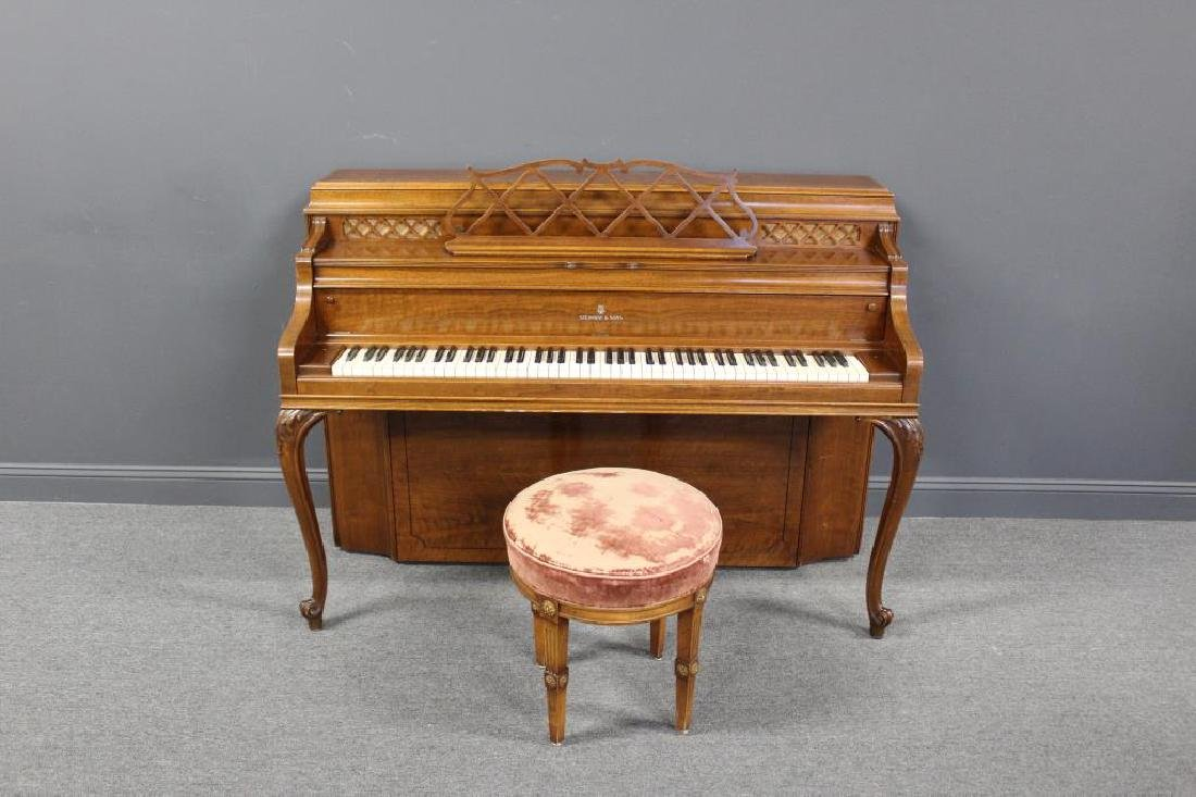 STEINWAY & Sons Louis XV Style Upright Piano.