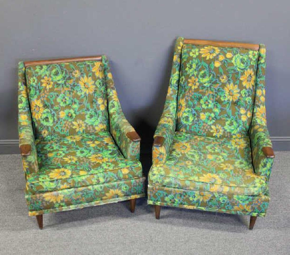 MIDCENTURY. His & Hers  Upholstered Arm Chairs.