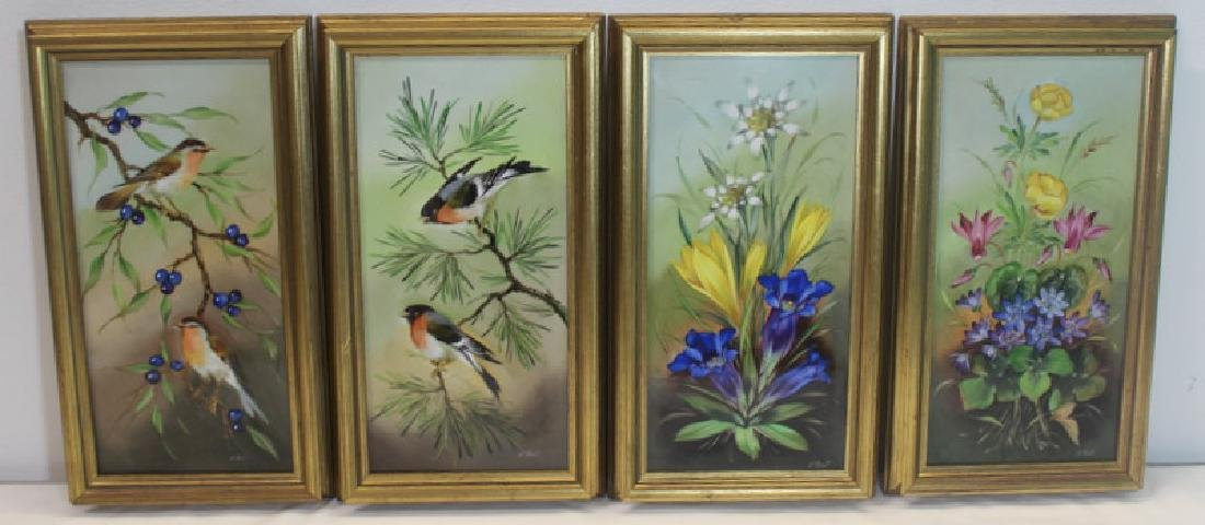 4 Artist Signed Mettlach Painted Porcelain Plaques