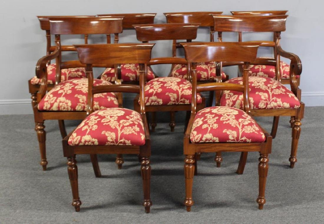 Set of 9 Regency Style Mahogany Dining Chairs.