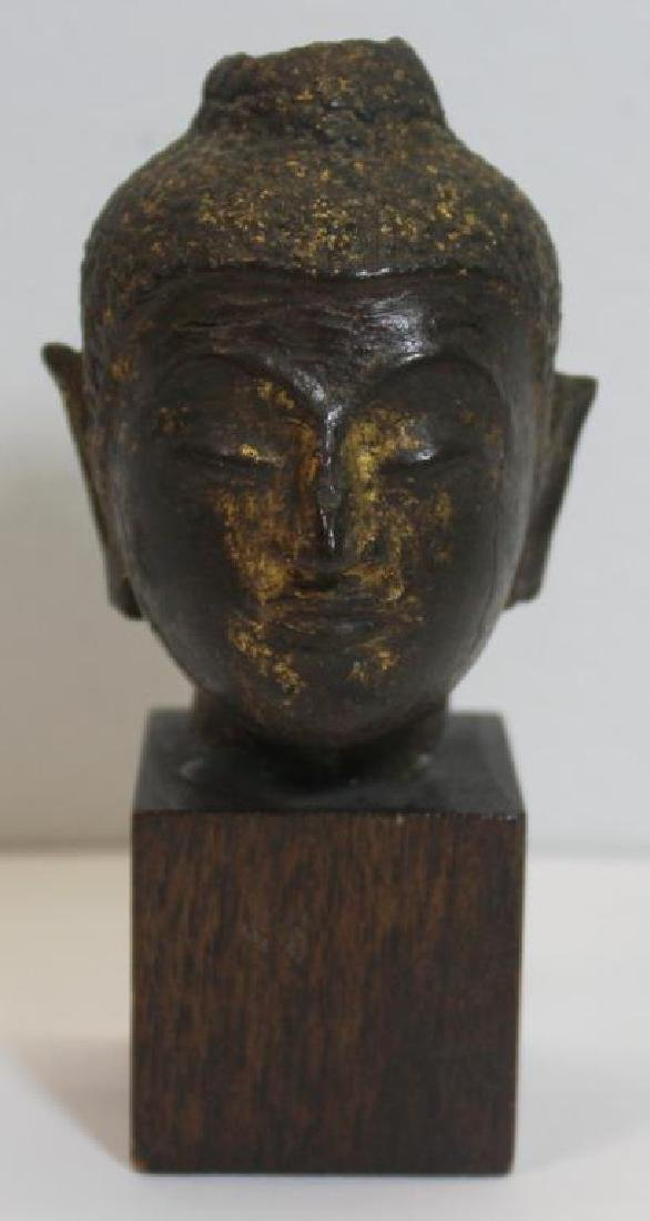 Diminutive Bronze Thai Buddha Head on Stand.