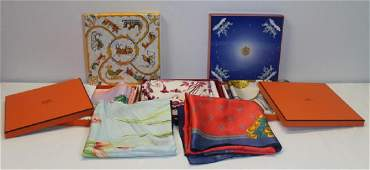 Grouping of Silk Scarves Including Hermes.