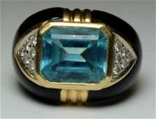 JEWELRY. 14kt Gold, Diamond, Onyx, and Blue Topaz