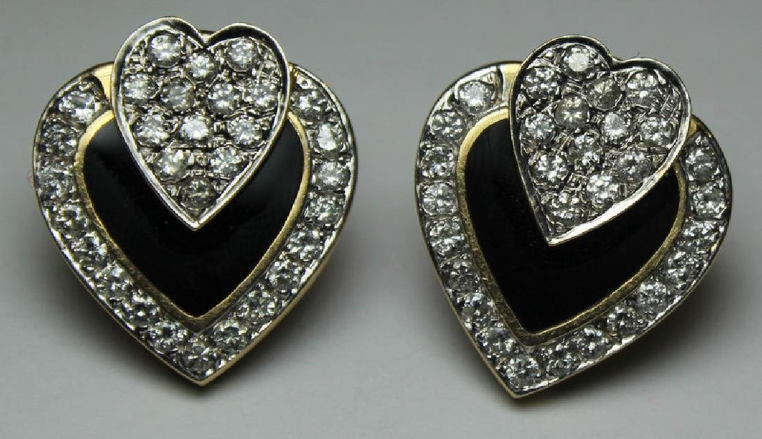 JEWELRY. 14kt Gold, Onyx, and Diamond Heart Form