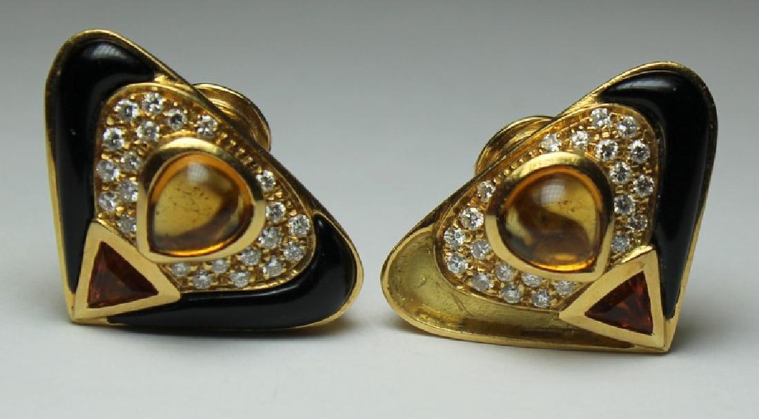 JEWELRY. 18kt Gold, Citrine, Diamond, and Onyx
