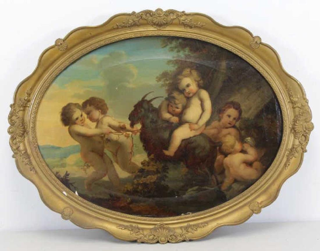 KOGLER, F. 19th C. Oil on Canvas. Putti with Goat.