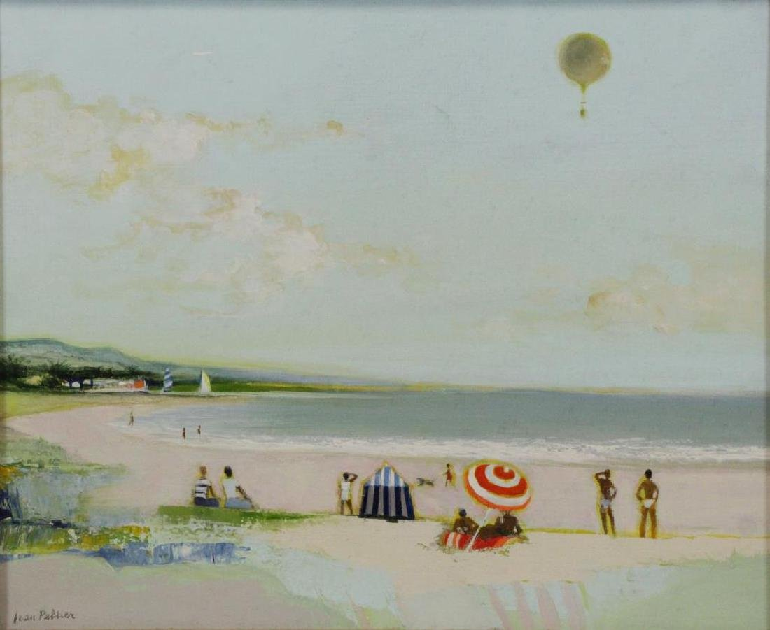 "PELTIER, Jean. Oil on Board. ""Notre Plage Favorite"