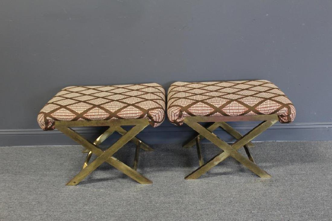 Pair Of Upholstered Benches With Gilt Metal Frames
